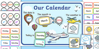 Sky Themed Display Calendar - sky, calendar, display, dates