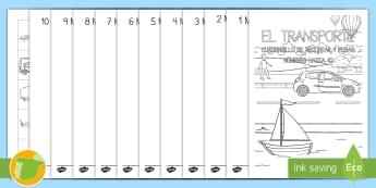 Cuadernillo: Los números 0-10 - El transporte - transporte, coche, camión, avión, globo aerostático, autobús, moto, motocicleta, vía, carretera