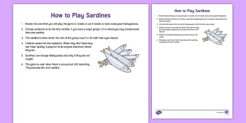 How to Play Sardines Adult Guidance - PE, Physical Education, Key Stage 1, KS1, Year 1, Y1, Year 2, Y2, Warm-up, Dance, Sport, Exercise, H