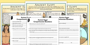Survival in Ancient Egypt Differentiated Reading Comprehension Activity - history, english, reading, questions, enquiry