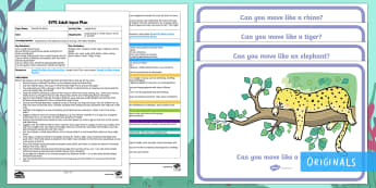 EYFS Jungle Disco Adult Input Plan and Resource Pack - Ronald the Rhino, Twinkl story book, reading, games, activities, adult led, movement, animals, pe, p