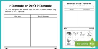Animal Hibernation Sorting Activity Sheet - Animal Hibernation Sorting Activity Sheet - hibernation, needs of animals, echidna, salmon, albatros