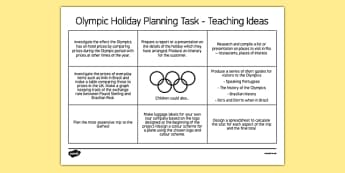 Olympic Holiday Planning Task Teaching Ideas - Plan, itinerary, year 6, after SATS, post SATS, maths project, real life, application, year 6 project