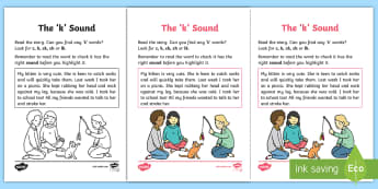 Linguistic Phonics Stage 5 and 6 Phase 3a, 'k' Sound Activity Sheet - Worksheet, Northern Ireland, sound search, text, phonemes