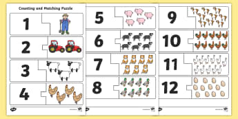 Farm Themed Counting and Matching Puzzle - count, match, counting aid