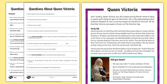 Queen Victoria Upper KS2 Differentiated Reading Comprehension Activity
