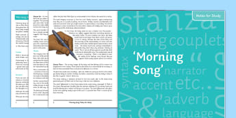 GCSE Poetry 'Morning Song' by Sylvia Plath Notes for Study - Plath, Sylvia, Ted, Hughes, motherhood, baby, babyhood, love and relationships, OCR, GCSE