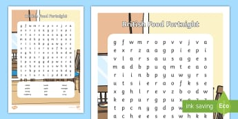KS1 British Food Fortnight Word Search - vegetables, British food, year 1, year 2, indoor play activities, healthy eating