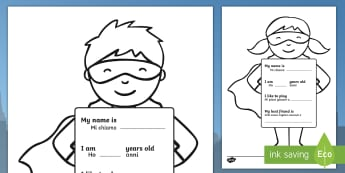 All About Me Superhero Writing Template English/Italian - Ourselves, All about me, family, Ks1, Y1, Year 1, EYFS, Reception, Growing, growth,