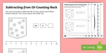 Subtracting from 10 Counting Back Activity Sheets - Subtracting from 10 Counting Back Activity Sheets - Addition and Subtraction, count back, how many l