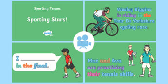 Spag-tastic!: Sporting Stars (What Are Present Progressive and Past Progressive Tenses?) Video 2 - tenses, year 2, y2, continuous, -ing verb, grammar, spag, gps