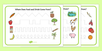 Where Does Food and Water Come from Pencil Control Activity Sheets