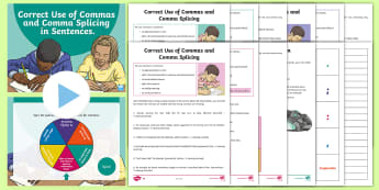 Correct Use of Commas and Comma Splicing Resource Pack - PowerPoint, Activity Sheets, Differentiated, Game, Revision