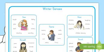 Winter Senses Word Mat  - winter, senses, vocabulary, word mat