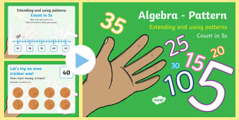 Algebra - Pattern - Counting in 5s PowerPoint - patterns, algebra, skip counting, number, fives,Irish