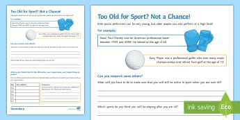 PE Cover Lesson - Too Old for Sport? Activity Sheet - PE, KS3, KS4, Cover, Worksheets, Independent