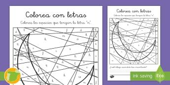 Colorea con letras: La letra N - lecto, didáctico, leer, lectura, sonidos, fonemas, consonantes, Spanish