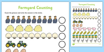 My Counting Worksheet (Farm Animals) - Counting worksheet, Farm Animals, counting, activity, how many, foundation numeracy, counting on, counting back, farm, pig, cow, chicken, goat, tractor, farmer, chicken, goat, sheep, hay, milk, eggs