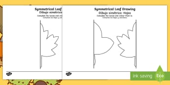 Autumn Symmetrical Leaf Drawing Activity Sheet English/Spanish  - drawing templates, symmetry, autumn, leaf, leaf drawing templates, symmetrical leaf drawing template