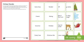 Christmas Charades Game - cards, secondary, fun, activity, end of term