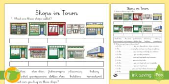 Ficha de actividad: Las tiendas de la ciudad - Inglés - shops, town, vocabulario, lengua extranjera, , english,Spanish-translation