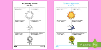 All About My Summer Activity Sheet English/Mandarin Chinese - All About My Summer Activity Sheet - all about me, summer, activity, holiday,summertime,summertime,a