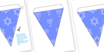 Hanukkah Bunting - bunting, decorations, hanukkah, celebration, festival of lights, jewish holiday, classroom decorations, for decorating your classroom
