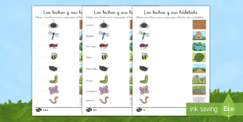 Ficha de actividad: Los bichos y sus hábitats - libélula, abeja, caracol, hormiga, típula, escarabajo, mariposa, oruga, gusano, mariquita, cochini