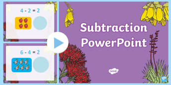 Subtraction PowerPoint - New Zealand, maths, subtraction, numbers to 10, minus, Years 1-3, age 5, age 6, age 7, take away, mi