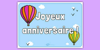 Hot Air Balloon Birthday Sign French - french, france, francais, hot air balloon, birthday,ballon