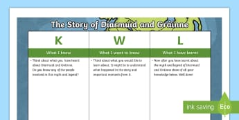 The Story of Diarmuid and Gráinne KWL Grid - Myth, Legend, Fionn, The Fianna, Irish tales,Irish