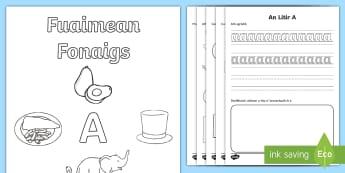 Fuaimean Fonaigs A Duilleagan-Obrach  - Cfe, early level, first level, letters, sounds, phonics, Gaelic sounds, Gaelic Alphabet, letter A,Sc