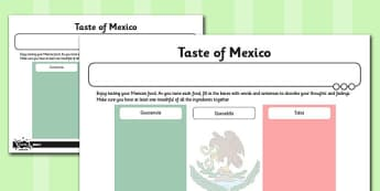 Global Food Activity Sheet Taste of Mexico - global, food, activity, mexico, worksheet
