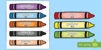 Colour Words on Crayons Poster English/Mandarin Chinese - Colour Words on Crayons, crayon, colour display, colour posters, colour, display, poster, posters, c