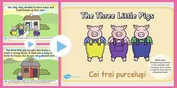 The Three Little Pigs Story PowerPoint Romanian Translation