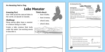 Lake Monster Activity Sheet, worksheet