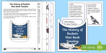The History of Rockets Mini Book Timeline Activity Sheets - Home Education, Lapbook, rocket science, saturn v, v2 rocket, chronological order