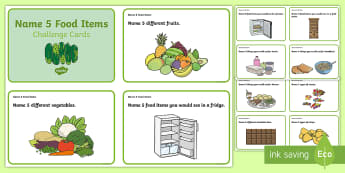 Name 5 Food Items Challenge Cards - Listening Skills, Speaking Skills, station Teaching, Pair discussions, group work