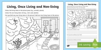 Living, Once Living and Non-Living Activity Sheet - ACSSU044, living things, classification,Australia, worksheet