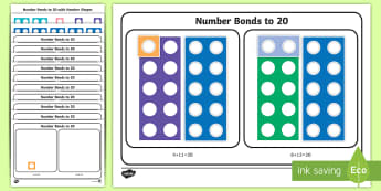 Workstation Pack: Number Bonds to 20 with Number Shapes Activity - TEACCH, workstation, autism, ASD, number bonds, numicon