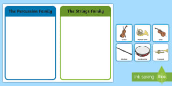 Orchestra Instrument Families Sorting Cards - CfE Expressive Arts, Music, musical instruments, orchestra families, sorting cards, ,Scottish