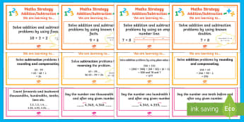 Addition and Subtraction WALT Cards Stages 5 - 7 Display Pack - WALT cards for NZ Mathematics, addition, subtraction, mental methods, rounding, adjusting