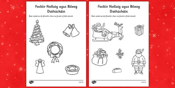 Christmas Dictionary Work Colouring Sheets Gaeilge - gaeilge, christmas, dictionary, work, colouring, sheets
