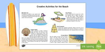 Art at the Beach Activity Sheet - seaside, creative, holidays, sand, shells, worksheet