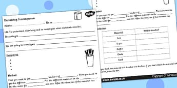 Dissolving Investigation Worksheet - dissolving, science