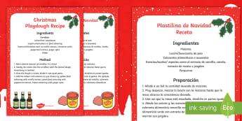 Christmas Playdough Recipe - English/Spanish - christmas, playdough, recipe, eyfs, receipe, EAL
