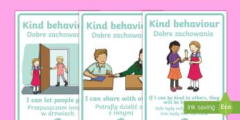Kind Behaviour Posters Polish Translation - English/Polish - Kind Behaviour Posters - Good manners, good behaviour, class management, display, banner, poster, si