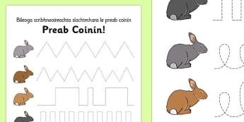 Bunny Hop Pencil Control Worksheets Gaeilge - gaeilge, irish, easter, fine motor skills
