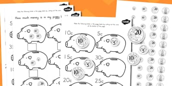Australia How Much Money is in My Piggy Bank Differentiated Worksheets