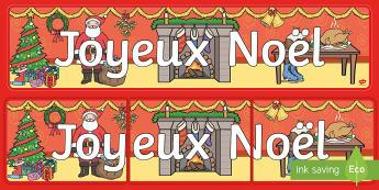 Banderole d'affichage : Joyeux Noël - Noël, Christmas, banderole, affichage, panneau, banner, display, joyeux, merry, French